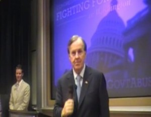 Robert Pittenger addresses constituents at recent townhall forums.
