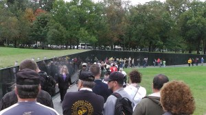 Marchers at the Vietnam Memorial.