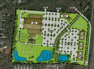 Site plan shows a mix of buildings, including the multi-sport center at left, office buildings along I-77 Service Road at right. A new road would connect the service road to Lake Pines Drive at the bottom.